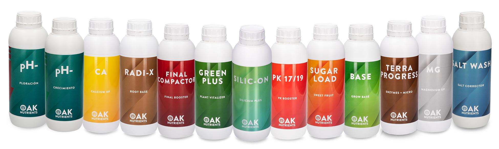 Gama de fertilizantes OAK Nutrients
